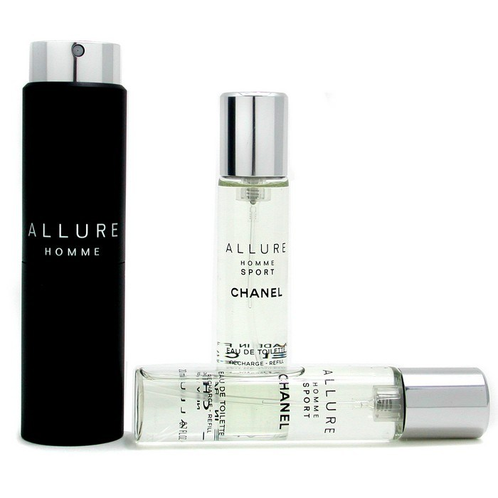 chanel allure homme sport edt travel spray with two. Black Bedroom Furniture Sets. Home Design Ideas