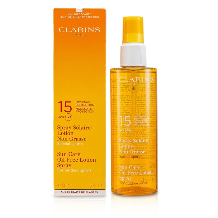 clarins sun care spray oil free lotion progressive tanning spf 15 for outdoor sports fresh. Black Bedroom Furniture Sets. Home Design Ideas