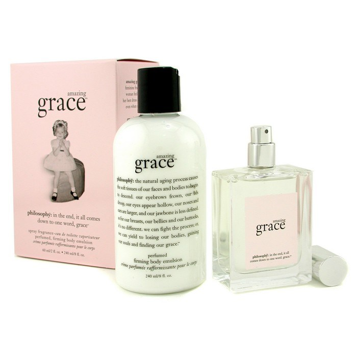 Includes fl oz olive oil scrub, 8-fl oz whipped body creme, and 2-fl oz edt spray fragrance; amazing grace: a clean, floral fragrance designed to make you feel amazingly clean and beautifully feminine.