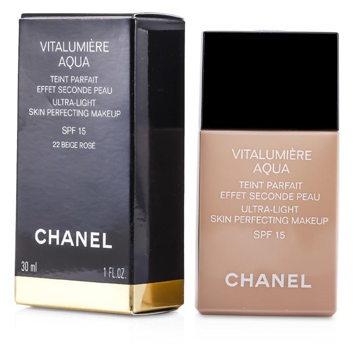 chanel vitalumiere aqua ultra light skin perfecting makeup sfp 15 22 beige rose fresh. Black Bedroom Furniture Sets. Home Design Ideas
