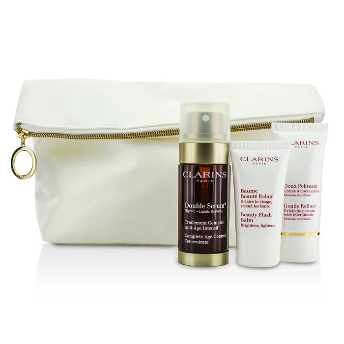 clarins youth boosters set double serum 30ml gentle refiner 30ml beauty flash balm 15ml. Black Bedroom Furniture Sets. Home Design Ideas