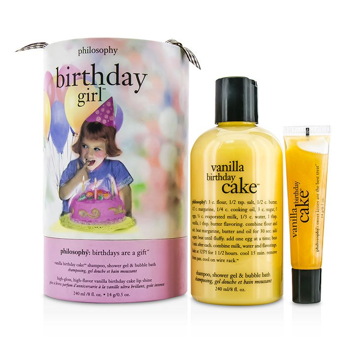Philosophy Birthday Day Girl Set Vanilla Cake Shampoo Shower Gel Bubble Bath Loading Zoom