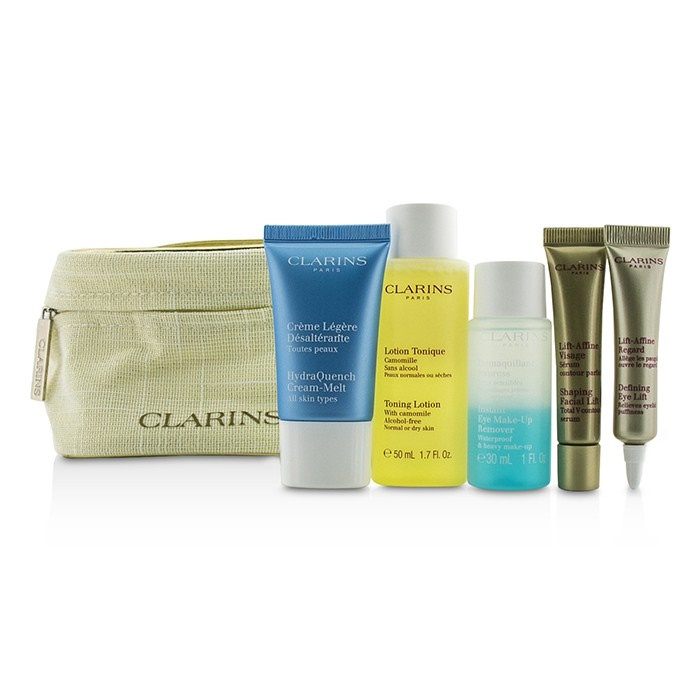 Clarins Perfume Refill: Clarins Travel Set: Toning Lotion 50ml+Eye Makeup Remover 30ml+HydraQuench Cream 15ml+Contouring