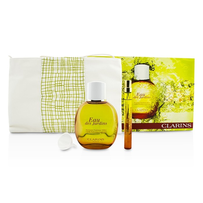clarins eau des jardins coffret fragrance spray 100ml refillable spray 10ml. Black Bedroom Furniture Sets. Home Design Ideas