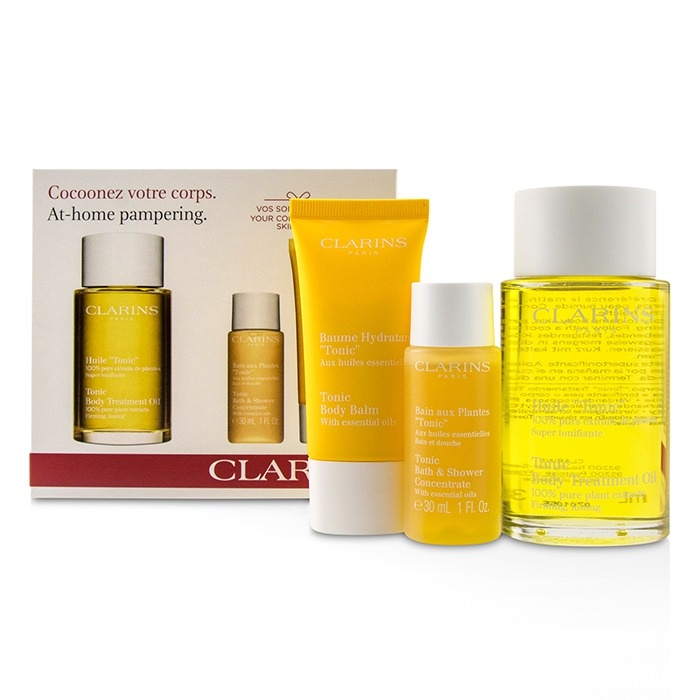 Clarins At-Home Pampering Body Kit: 1x Tonic Body Treatment Oil, 1x Bath. Loading zoom